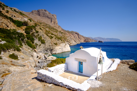 anna: Romantic landscape view of Agia Anna beach with chapel on Amorgos island, Cyclades, Greece