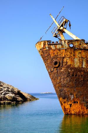 shipwreck: Detail of abandoned rusty shipwreck on Amorgos island, Cyclades, Greece Stock Photo