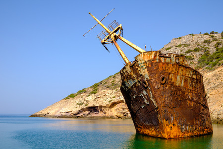 ship wreck: Scenic view of abandoned rusty shipwreck, Amorgos island, Cyclades, Greece