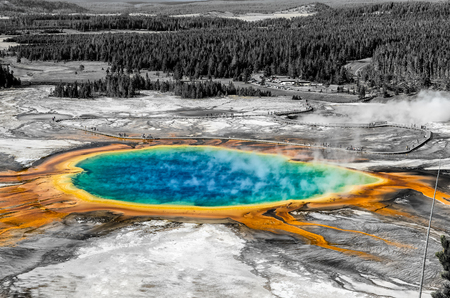 white color: Landscape view of Grand Prismatic spring in black and white selective color style, Yellowstone NP, Wyoming, USA