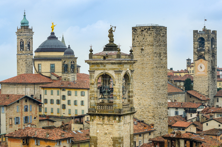 italy landscape: Scenic view of towers and roofs in old town Bergamo, Italy