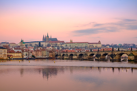 charles bridge: Citiscape view of Prague castle and Charles bridge at colorful sunrise, Prague, Czech republic