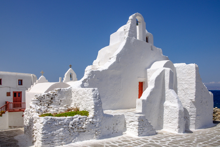 mykonos: Scenic view of whitewashed church Panagia Paraportiani, Mykonos, Cyclades, Greece