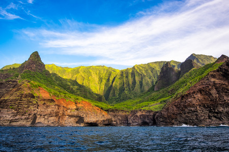Scenic view of Na Pali coastline from the ocean, Kauai, Hawaii, USA