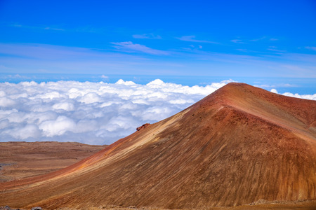 Detail landscape view of volcanic crater on Mauna Kea, Hawaii, USA