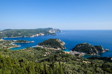 Landscape view of beautiful ocean coastline Paleokastritsa, Corfu, Greece