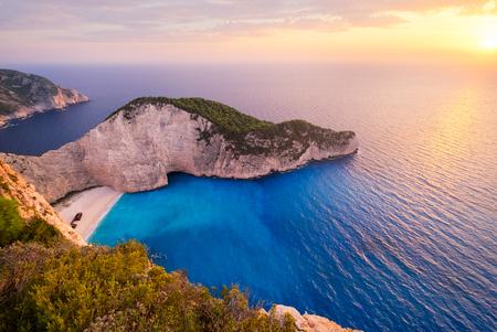 Landscape sunset view of famous shipwreck beach in Zakynthos, Greece