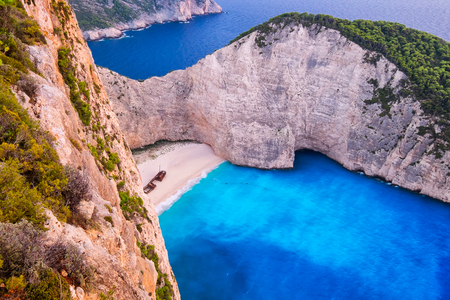 Landscape aerial view of famous Shipwreck beach in Zakynthos, Greece Zdjęcie Seryjne
