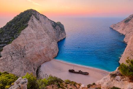 paradise bay: Colorful sunset landscape at Shipwreck beach, Zakynthos, Greece