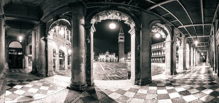 campanille: Architectural panorama of Piazza San Marco and arches in monochrome processed style, Venice, Italy