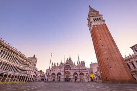 campanille: Scenic view of Piazza San Marco with Campanile at sunrise, Venice, Italy