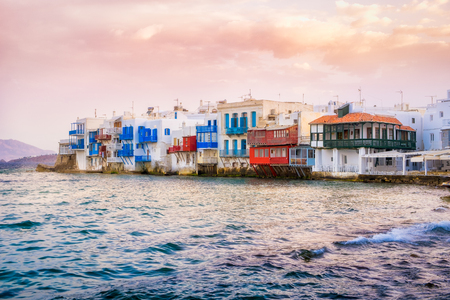 little venice: Scenic view of Little venice colorful houses on Mykonos island, Greece Stock Photo