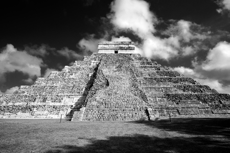 Famous Mayan pyramid in Chichen Itza archeological site, one of new Seven wonders of the World, Mexico Stock Photo