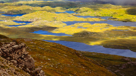 Beautiful rugged landscape in Inverpolly, Highlands of Scotland, United Kingdom Stock Photo