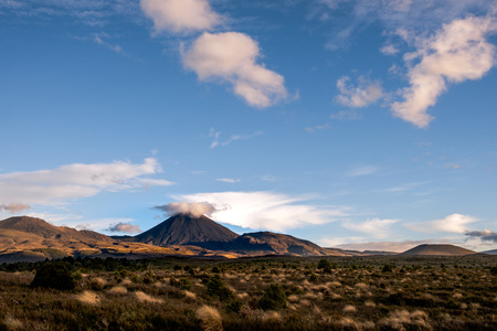 stratovolcano: Landscape view of Mt Ngauruhoe in Tongariro National park, North Island, New Zealand Stock Photo