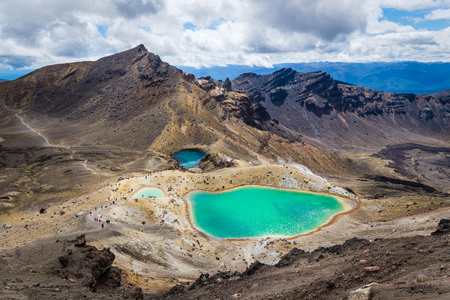 stratovolcano: Landscape view of colorful Emerald lakes and volcanic landscape, Tongariro national park, New Zealand