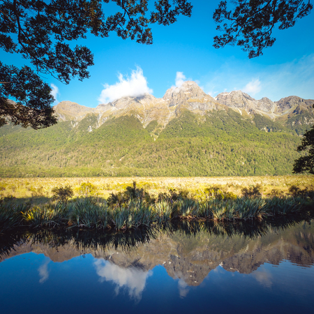 Panoramic view of Mirror lake on the way to Milford Sound, Fjordland, New Zealand