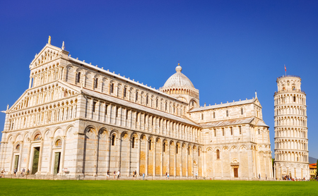 Leaninig tower of Pisa landscape view during sunny day, Pisa, Italy Stock Photo