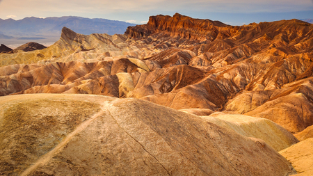 Landscape view of Zabriskie point in Death valley national park desert