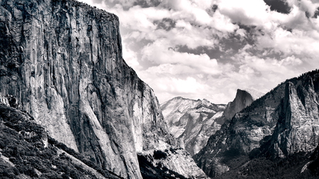 Famous landscape view of Yosemite national park in black and white filtered vintage style Stock Photo