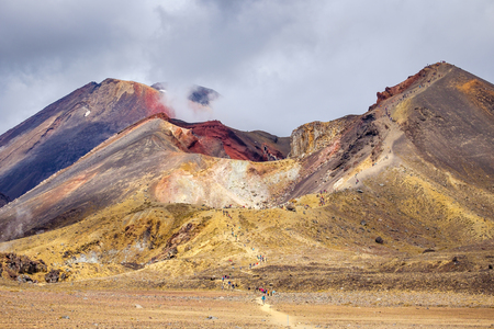 stratovolcano: Volcanic landscape with Red crater, Tongariro national park, North Island, New Zealand Stock Photo