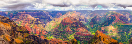 Panoramic view of dramatic landscape in Waimea cayon, Kauai, Hawaii, USA