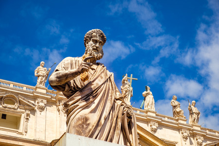 Detail of statue of St Peter in front of St Peters basilica, Vatican, Rome, Italy
