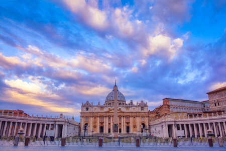St Peters basilica in Vatican at sunrise, Rome, Italy