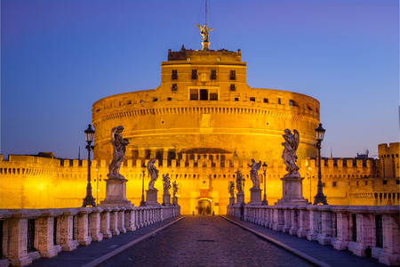 Scenic view of Castle San Angelo before sunrise, Rome, Italy