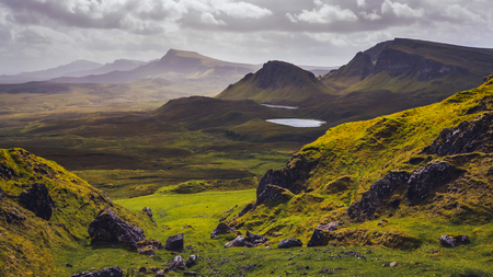 Landscape view of Quiraing mountains on Isle of Skye, Scottish highlands, United Kingdom Stock Photo