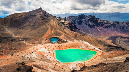 stratovolcano: Panoramic view of colorful Emerald lakes and volcanic landscape, Tongariro national park, New Zealand