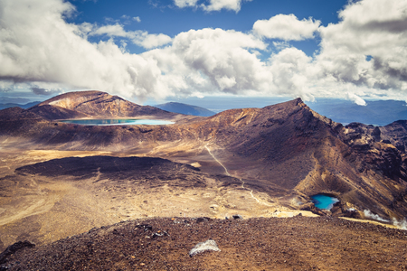 stratovolcano: Landscape view of Emerald lakes and volcanic landscape, Tongariro national park, North island of New Zealand