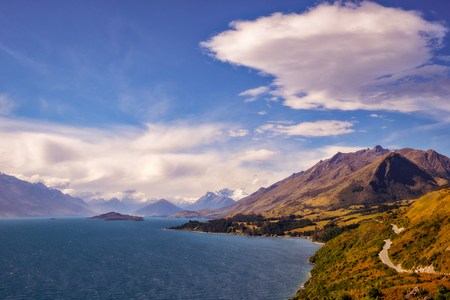 Mountain range and lake view from Bennetts Bluff, near Queenstown, South Island of New Zealand