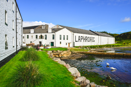 ISLAY, UNITED KINGDOM - 25 August 2013: Laphroaig distillery factory, Islay, United Kingdom