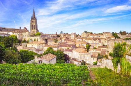 Colorful landscape view of Saint Emilion village in Bordeaux region, France