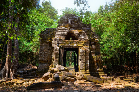 Ancient stone temple ruins in the jungle, Angkor Wat, Cambodia