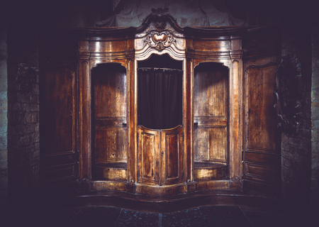 Old vintage furniture booth in artistic filtered moody style Фото со стока