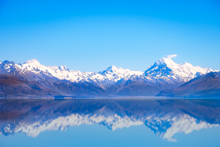 Scenic view of Lake Pukaki and Mt Cook with reflection, Southern Alps, New Zealand 免版税图像