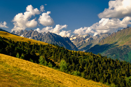 Beautiful mountain landscape in Kazbegi national park, Caucasus mountains, Country of Georgia