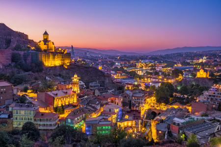 Colorful skyline view of Tbilisi at sunset, Country of Georgia
