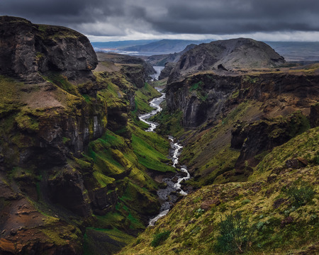 Landscape view of Thorsmork mountains canyon and river, near Skogar, Iceland