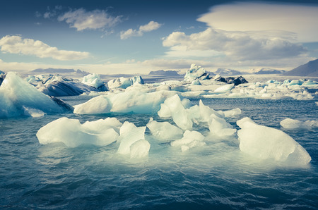 Landscape view of Jokullsarlon lagoon with floating ice, Iceland, Europe