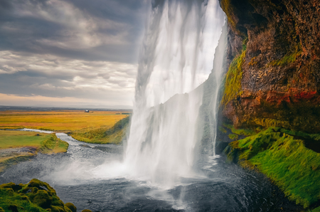 Landscape view of beautiful Seljalandsfoss waterfall in Iceland, Europe