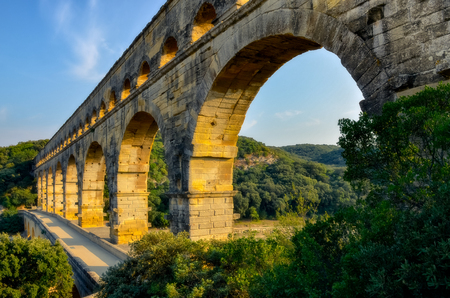 Landscape view of Pont du Gard bridge at sunset, France, Europe