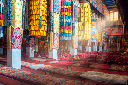 Beautiful colorful interior decoration of Tibetan buddhist temple, Tibet, Asia