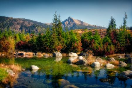 Beautiful autumn landscape with mountain peak and a lake, Krivan, High Tatras, Slovakia, Europe