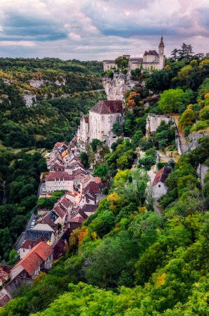 Scenic view of beautiful historical Rocamadour town after sunset, France, Europe