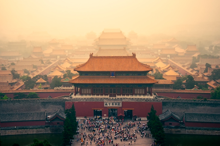 Cityscape view of Beijing Forbidden City in dreamy colorful style, China, Asia