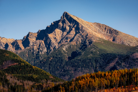 Mountain peak Krivan in High Tatras, with beautiful autumn colors, Slovakia, Europe