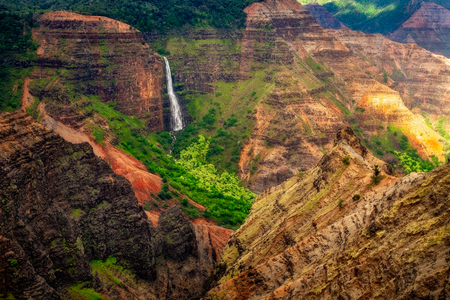 Landscape view of Waipoo waterfall in Waimea canyon, Kauai, Hawaii, USA